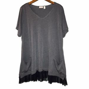 LOGO by Lori Goldstein | grey tunic top w/ trim
